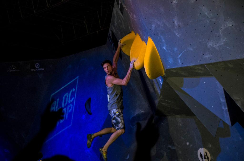 Jernej Kruder plays to the crowd as he sticks the jump at Bloc Shop Open 2017